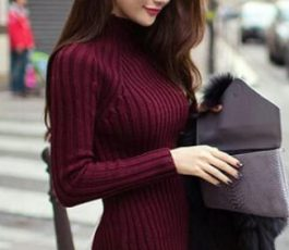 High Neck Long Sleeve Knit Long Sweater